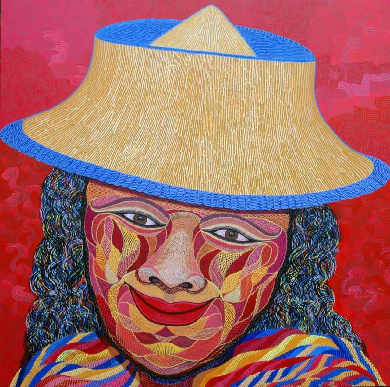 2014-10_self-portrait-with-hat_200x200cm_Acrylic-on-canvas